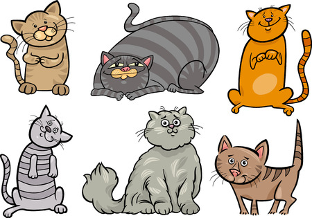 moggie: Cartoon Illustration of Funny Cats or Kittens Pet Set