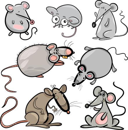 rata caricatura: Ilustración de dibujos animados de ratones lindos y Ratas Roedores Set