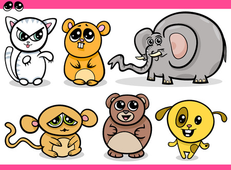 Cartoon Illustration of Cute Kawaii Style Animals Set Vector