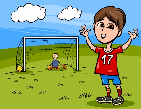 Cartoon Illustration of Cute Boy Playing Football or Soccer Vector