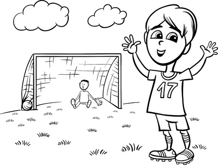 Black and White Cartoon Illustration of Cute Boy Playing Football or Soccer for Coloring Book