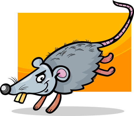 Cartoon Illustration of Funny Running Mouse or Rat Rodent Vector