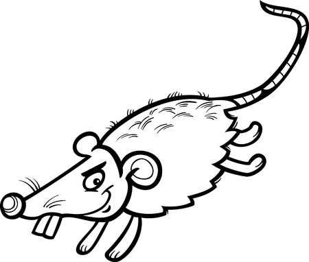 Black and White Cartoon Illustration of Funny Running Mouse or Rat Rodent for Coloring Book Vector