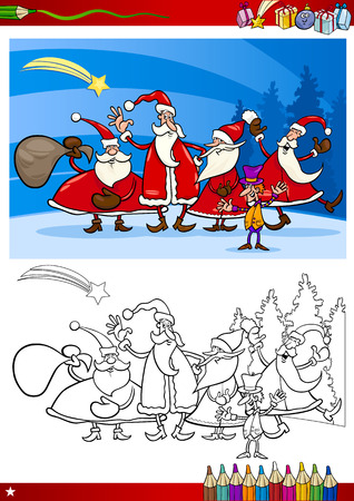 Coloring Book or Page Cartoon Illustration of Themes Set with Santa Claus Group with Christmas Presents and Decorations for Children Vector