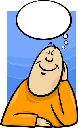 dreamer: Cartoon Concept Illustration of Happy Dreamer Man