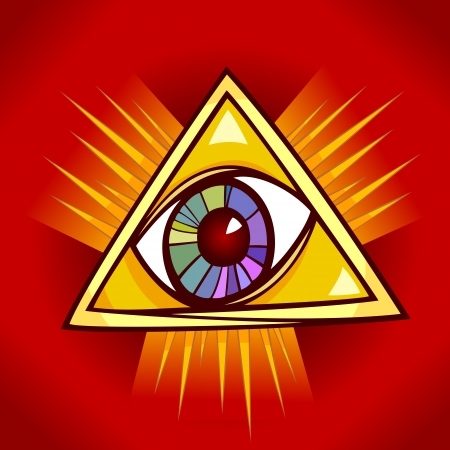 eye of providence: Eye of Providence Cartoon Illustration Clip Art Illustration