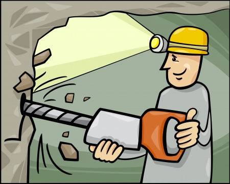Cartoon Illustration of Miner at Work in the Coal Mine Vector