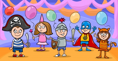 funny mask: Cartoon Illustration of Cute Little Children in Costumes on Fancy Ball