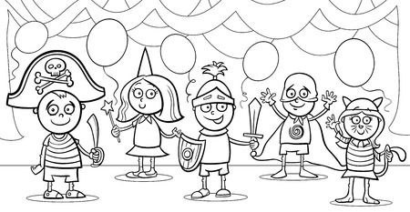 Black and White Cartoon Illustration of Cute Little Children in Costumes on Fancy Ball for Coloring Book Vector