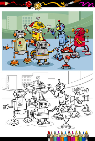 libro caricatura: Coloring Book o página de dibujos animados de blanco y Negro Robots Caracteres Grupo de niños Vectores