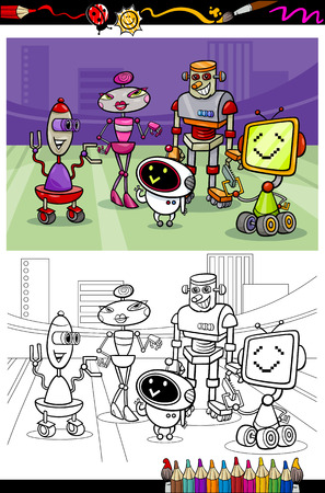 Coloring Book or Page Cartoon Illustration of Black and White Robots Characters Group for Children Vector