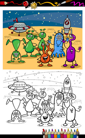 Coloring Book or Page Cartoon Illustrations of Fantasy Aliens or Martians Comic Mascot Characters Group for Children Vector