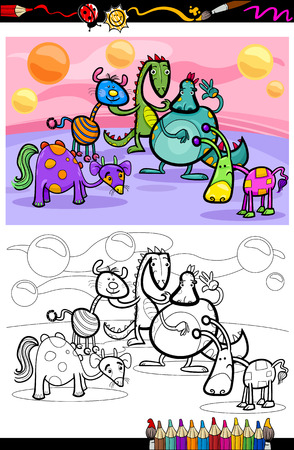 Coloring Book or Page Cartoon Illustrations of Fantasy Creatures Comic Mascot Characters Group for Children Vector