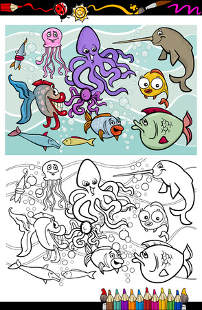 Coloring Book or Page Cartoon Illustrations of Funny Sea Life Animals and Fish Mascot Characters Group for Children Vector