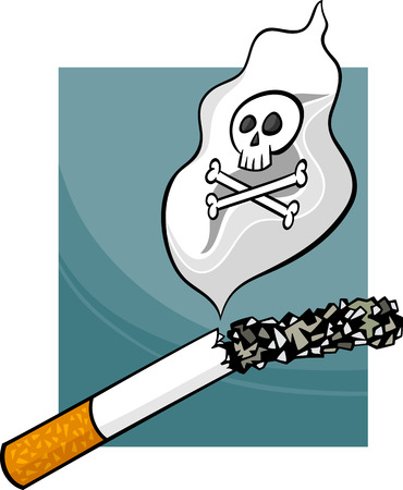 smoking a cigarette: Cartoon Concept Illustration about Harmfulness of Smoking Cigarettes