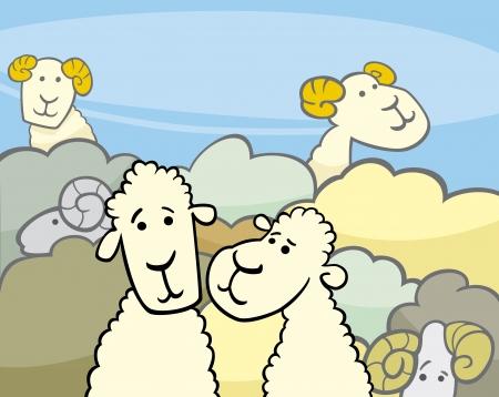 flock of sheep: Cartoon Illustration of Flock of Sheep Comic Characters Group Illustration