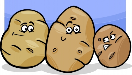 skeptical: Cartoon Illustration of Funny Comic Potatoes Vegetable Food Characters Group Illustration