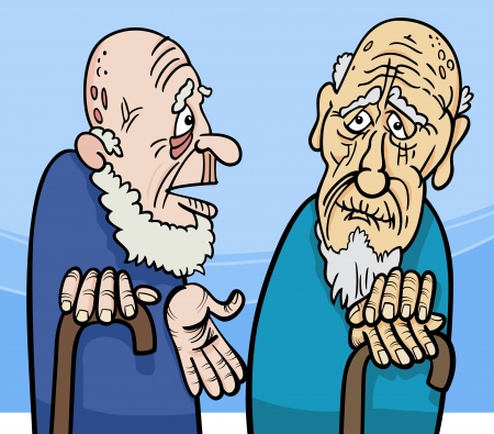 pensioner: Cartoon Illustration of Two Old Men Talking