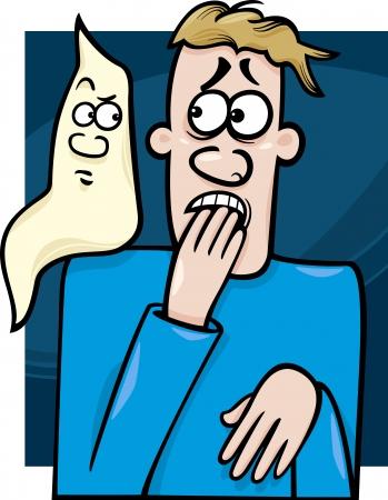 poltergeist: Cartoon Concept Illustration of Funny Man Afraid of the Ghost Illustration