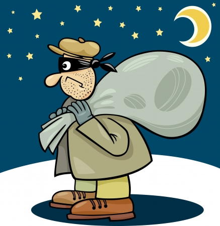 sneak: Cartoon Illustration of Thief with Sack at Night