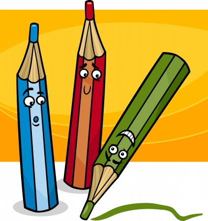 Cartoon Illustration of Funny Colorful Crayons Objects Comic Character