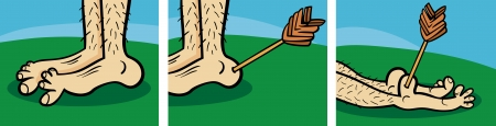 homer: Short Comic Story Strip of Achilles Heel Cartoon Illustration Illustration