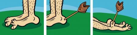 Short Comic Story Strip van Achilles Heel Illustratie van het Beeldverhaal Vector Illustratie