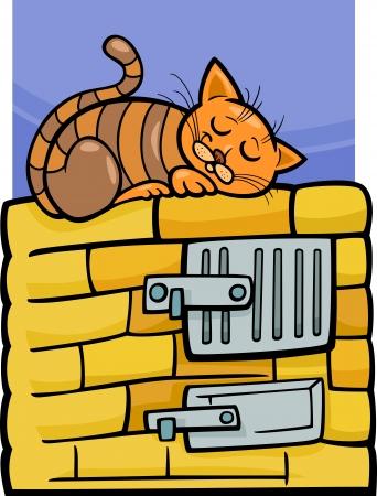 mouser: Cartoon Illustration of Tabby Cat Sleeping on Stove