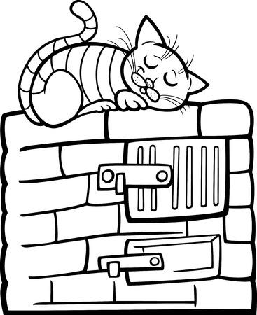 estufa: Blanco y Negro Ilustración de dibujos animados de gato atigrado dormir en estufa de Coloring Book Vectores