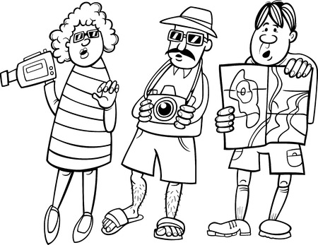 short trip: Black and White Cartoon Illustration of Funny Tourist Group on Vacation
