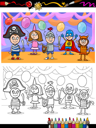 Coloring Book or Page Cartoon Illustration of Cute Little Children in Costumes on Fancy Ball for Coloring Book Vector