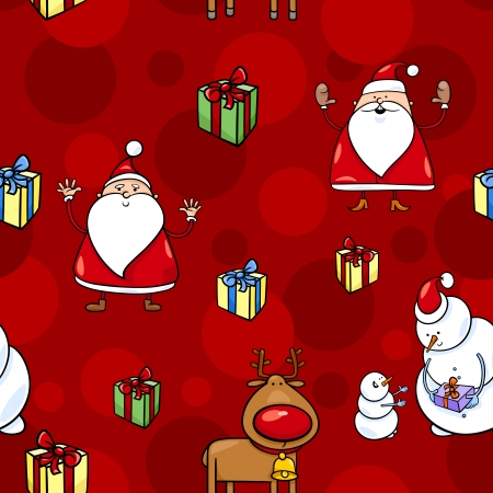 papa noel: Seamless Pattern Cartoon Illustration of Santa Claus and other Christmas Themes for Wrapper or Paper Pack and Design
