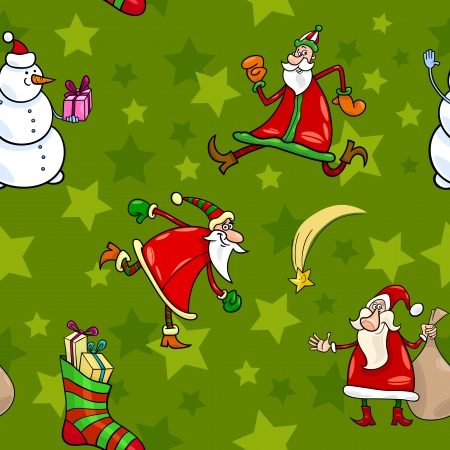 Seamless Pattern Cartoon Illustration of Santa Claus and other Christmas Characters and Themes for Wrapper or Paper Pack Vector