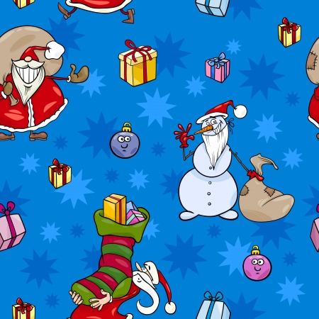 Seamless Pattern Cartoon Illustration of Santa Claus and other Characters and Christmas Themes Design for Wrapper or Paper Pack Vector
