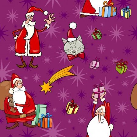 papa noel: Seamless Pattern Cartoon Illustration of Santa Claus and Christmas Themes for Wrapper or Paper Pack and Design