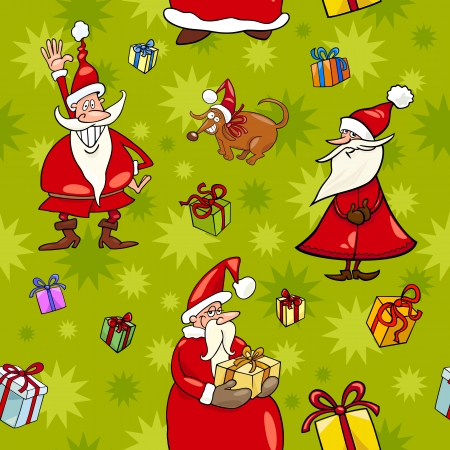 Seamless Pattern Cartoon Illustration Design of Santa Claus and Christmas Characters and Themes for Wrapper or Paper Pack Vector