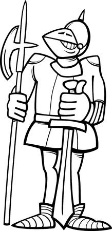 halberd: Black and White Cartoon Illustration of Funny Knight in Armor with Sword and Halberd for Coloring Book