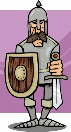 cold steel: Cartoon Illustration of Funny Knight in Armor with Sword and Shield