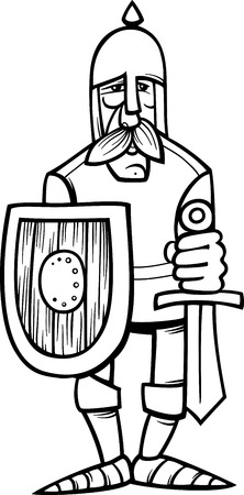 cold steel: Black and White Cartoon Illustration of Funny Knight in Armor with Sword and Shield for Coloring Book