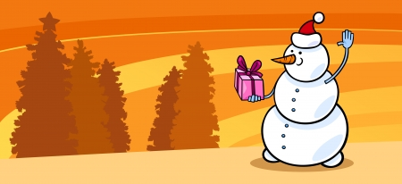 Greeting Card Cartoon Illustration of Snowman Santa with Christmas Present Vector