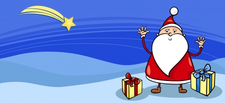 Greeting Card Cartoon Illustration of Santa Claus or Papa Noel with Presents and Christmas Star