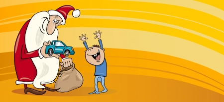 papa noel: Greeting Card Cartoon Illustration of Santa Claus with Christmas Present and Sack and Little Boy Illustration