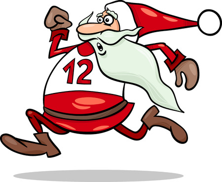 cartoon santa: Cartoon Illustration of Funny Running Santa Claus Character Illustration