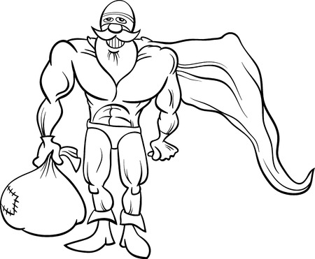 Black and White Cartoon Illustration of Funny Superhero or Hero Santa Claus Character with Sack Full of Christmas Presents for Coloring Book Vector