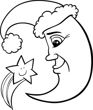 star mascot: Black and White Cartoon Illustration of Funny Moon as Santa Claus Character with Christmas Star for Coloring Book Illustration