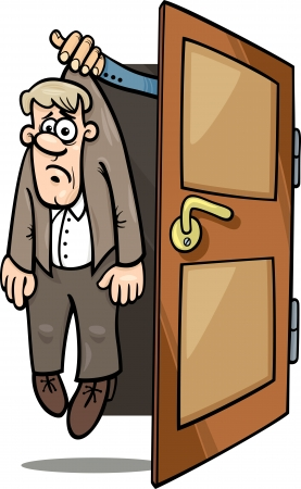 dismissed: Cartoon Concept Illustration of Unhappy Fired or Dismissed Man Illustration