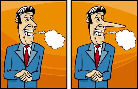 insincere: Cartoon Concept Illustration of Funny Insincere Businessman or Politician Giving a Speech Illustration
