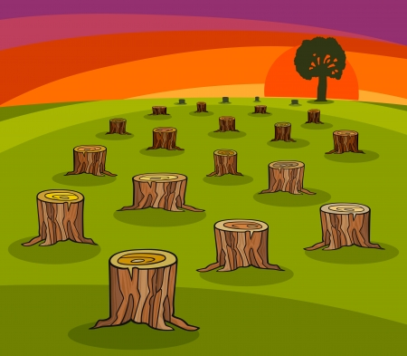 environment damage: Cartoon Ecological Concept Illustration with trunks of Cut Forest and Last Tree Illustration