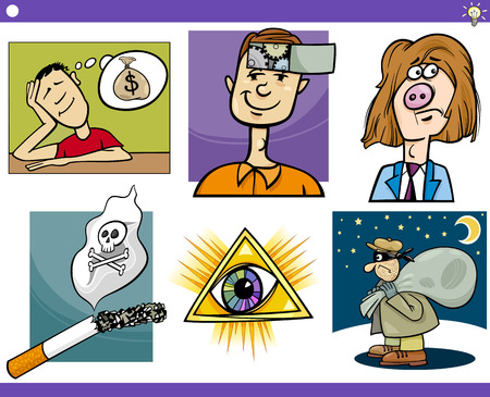 Illustration Set of Humorous Cartoon Concepts or Ideas and Metaphors with Funny Characters Stock Vector - 23207721