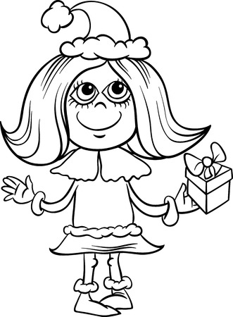 Black and White Cartoon Illustration of Little Girl in Santa Claus or Snowflake Costume with Christmas Present for Coloring Book Vector